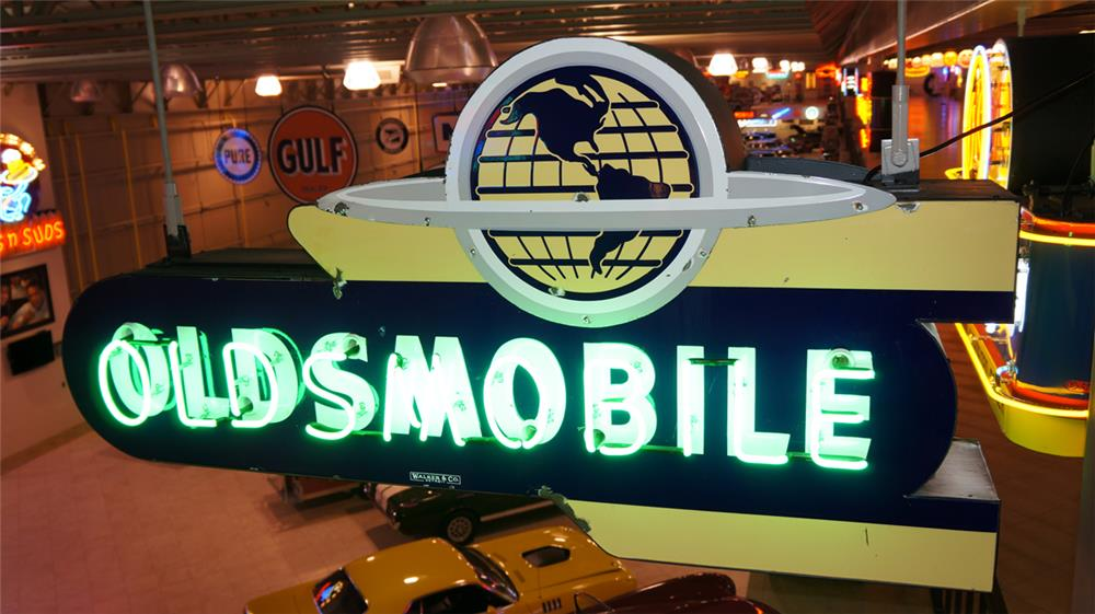 1950's Oldsmobile double-sided neon porcelain dealership sign - Front 3/4 - 179887