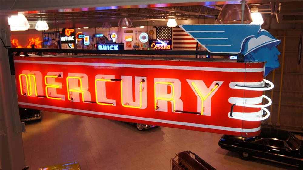 1940's Mercury Automobiles double-sided neon porcelain sign with die-cut Mercury head porcelain marquee sign. - Front 3/4 - 179890