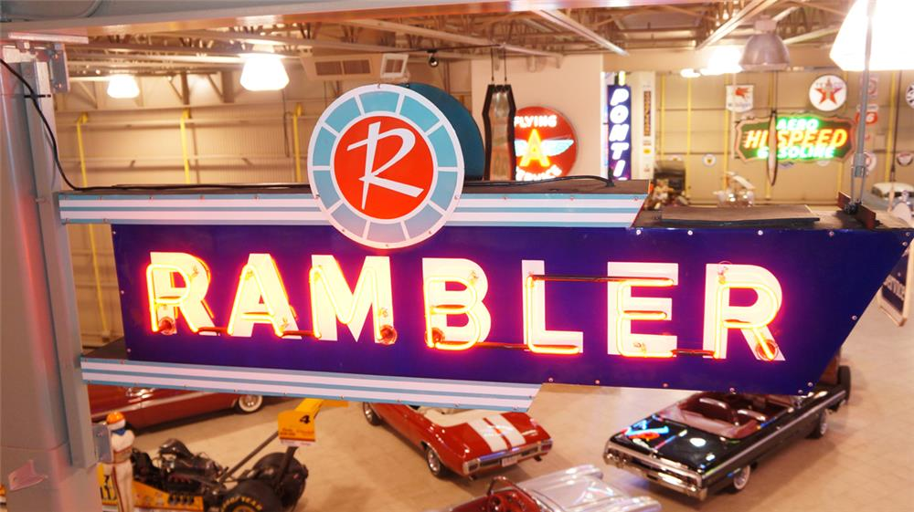 1950's Rambler Automobiles double-sided neon porcelain dealership sign. - Front 3/4 - 179896