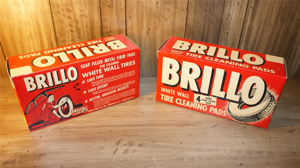Lot of two N.O.S. Brillo Pads for Automobiles cardboard display boxes still unused. - Front 3/4 - 179915