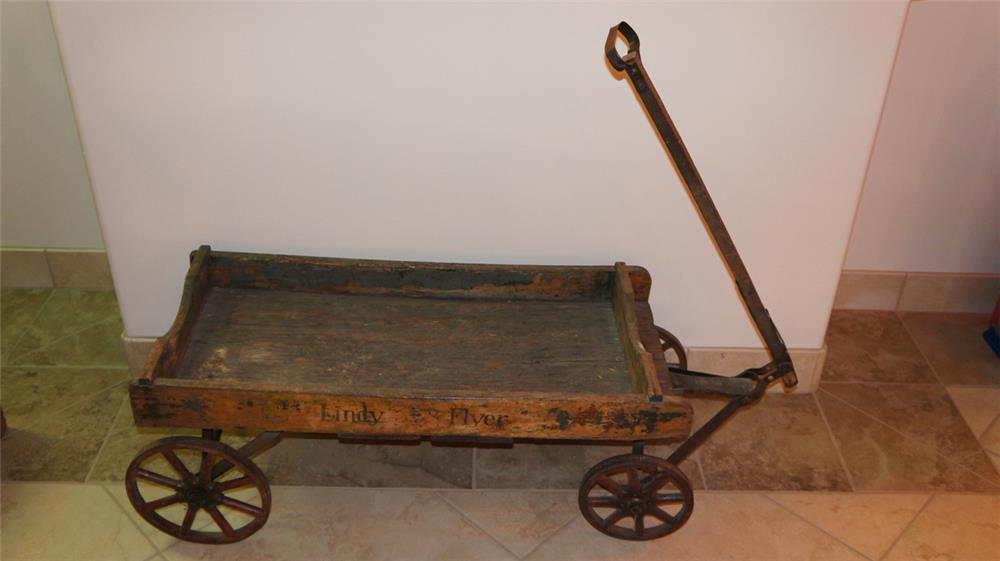 Circa late 1920's Lindy Flyer all original wooden child's wagon. - Front 3/4 - 180035