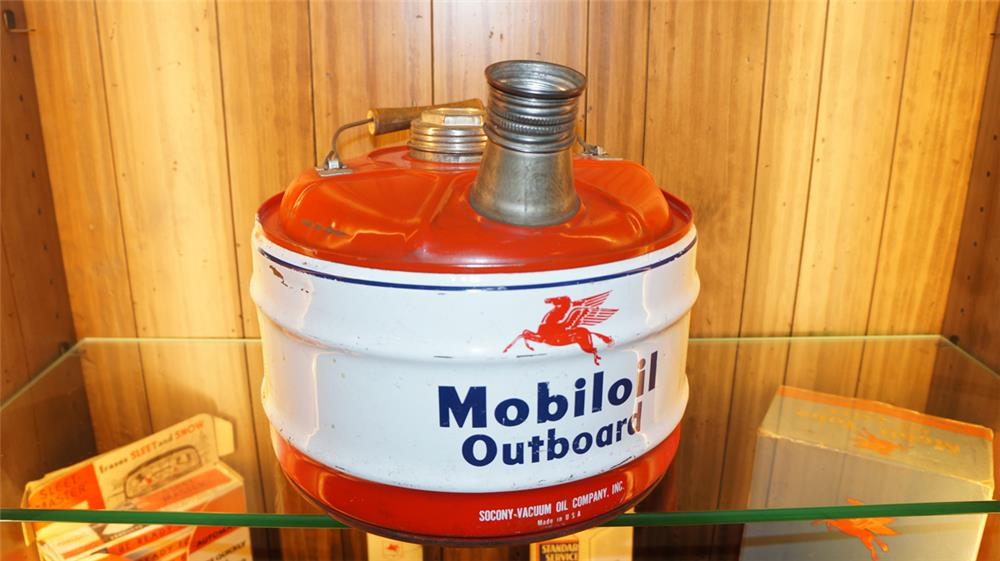 Circa 1950's Mobil Oil outboard can with spout and Pegasus logo. - Front 3/4 - 180041