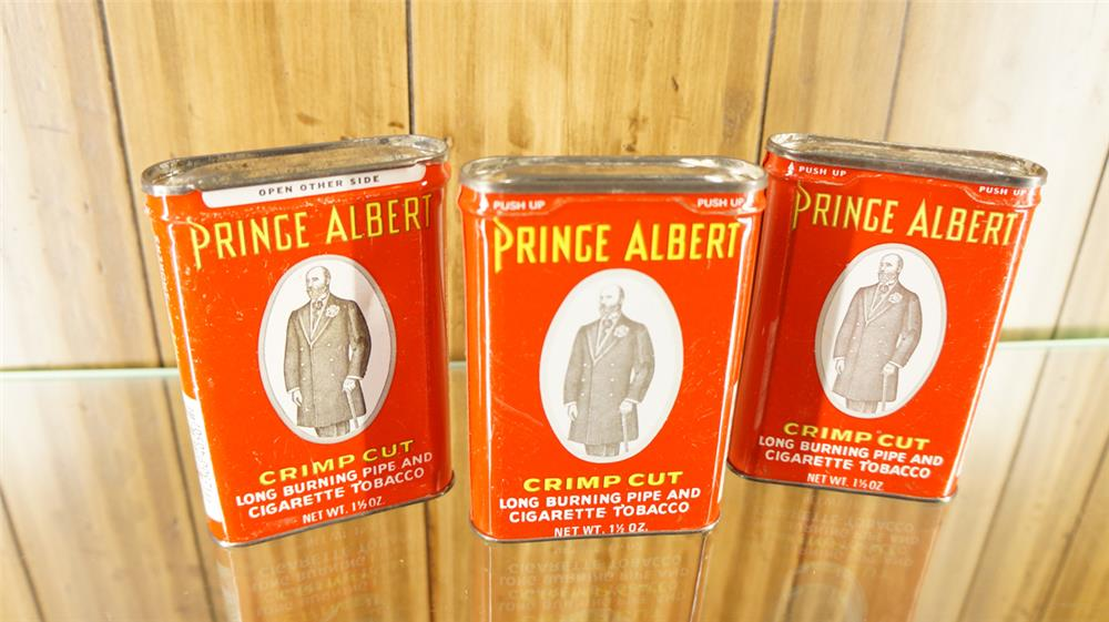 Lot of three 1930's Prince Albert Tobacco tins. - Front 3/4 - 180043