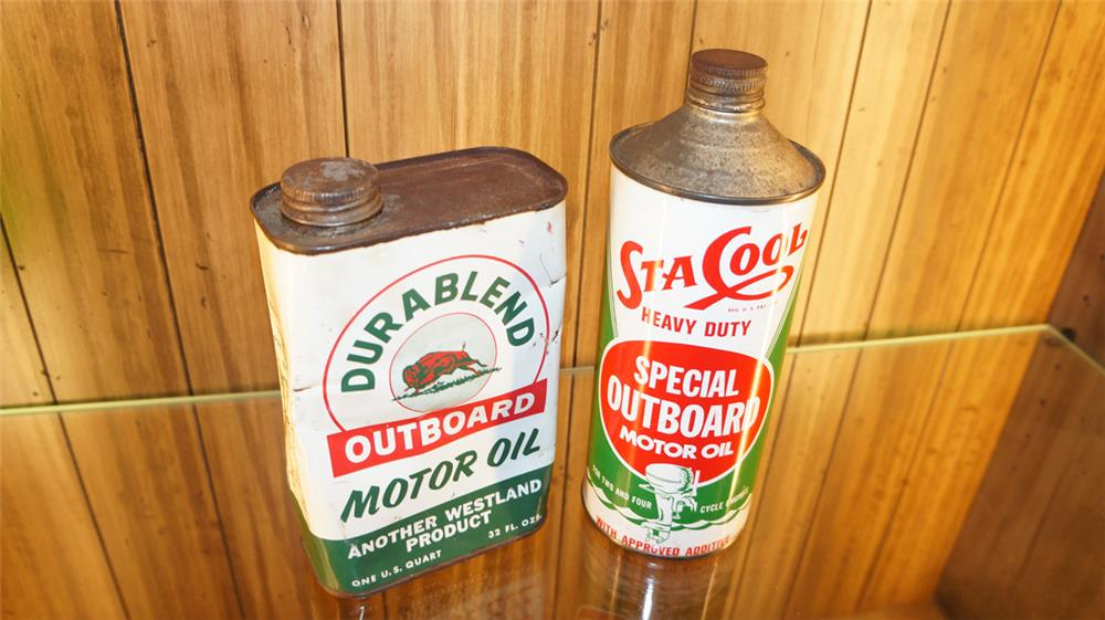 Lot of two 1930's-40's Outboard Oil tins for Westland Gasoline and Sta-Cool. - Front 3/4 - 180046