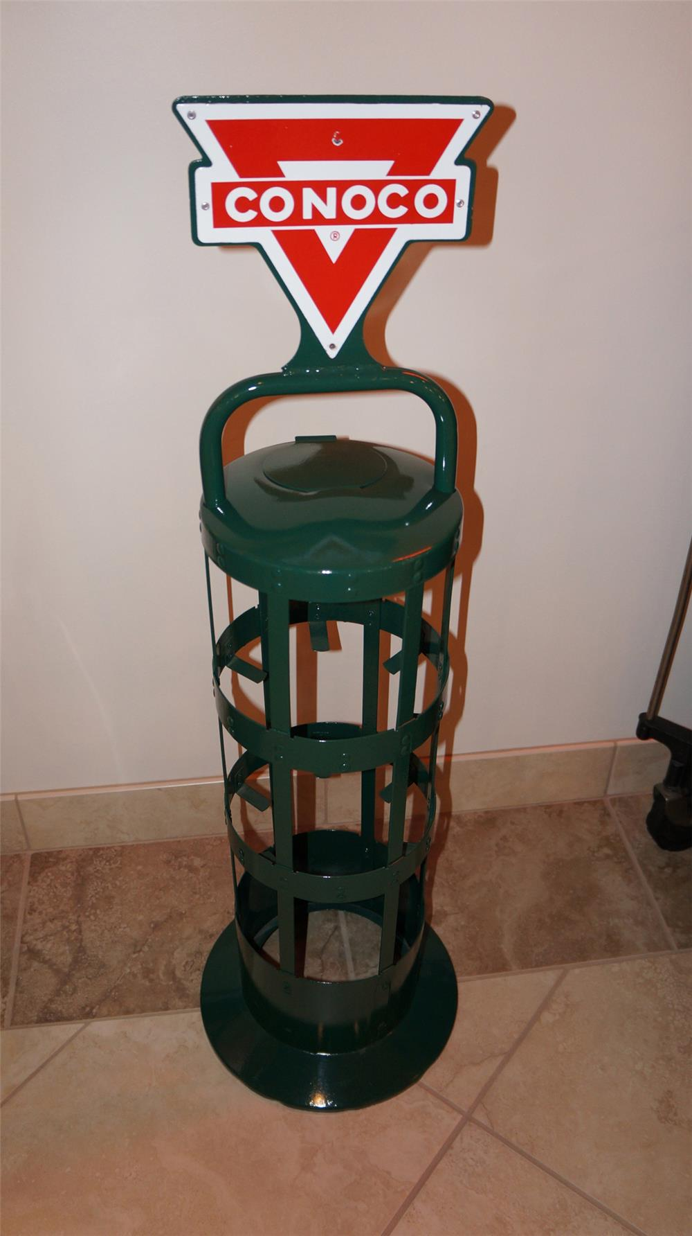 Circa 1950's Conoco service station fuel island quart display rack with double-sided porcelain sign. - Front 3/4 - 180049