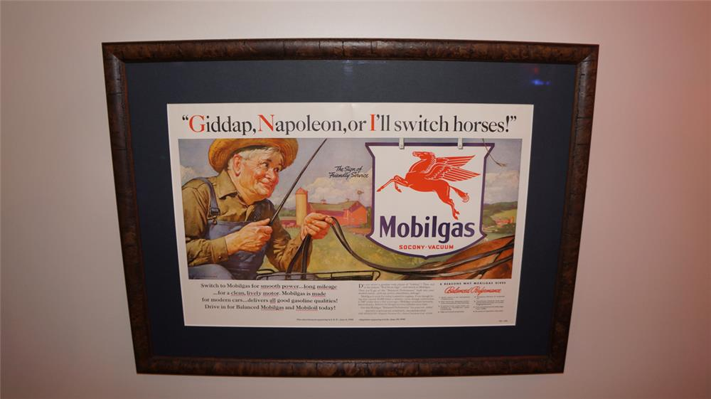 Colorful 1932 framed Mobil Oil advertisement with fishing topic. - Front 3/4 - 180050