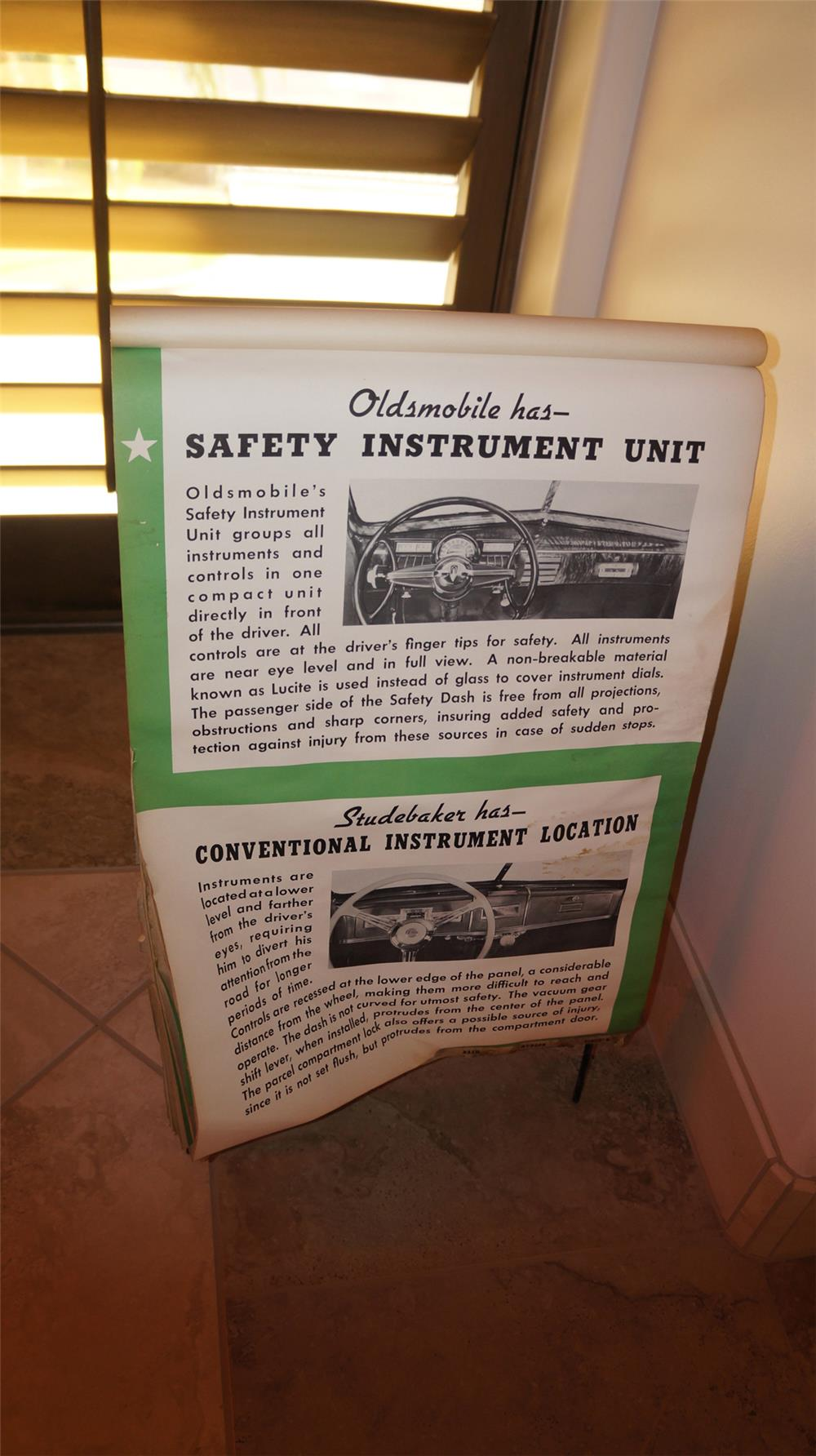 Circa 1935 Oldsmobile dealership showroom sales flip board - Front 3/4 - 180052