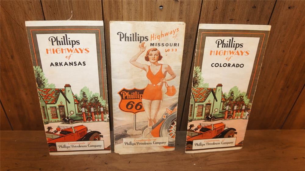 Lot of three vintage Phillips 66 road maps consisting of two 1931 and one 1933. - Front 3/4 - 180057