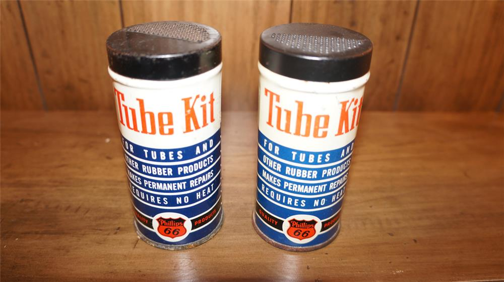 Lot of two 1950's Phillips 66 Tube Repair Kits with logo. - Front 3/4 - 180061