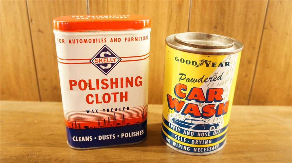 Lot consisting of a 1950's Goodyear Car wash tin and a 1950's Skelly Polishing cloth tin. - Front 3/4 - 180063