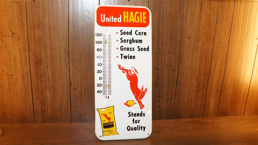 Circa 1950's-60's United Hagie Seed-Twine single-sided tin thermometer. - Front 3/4 - 180069