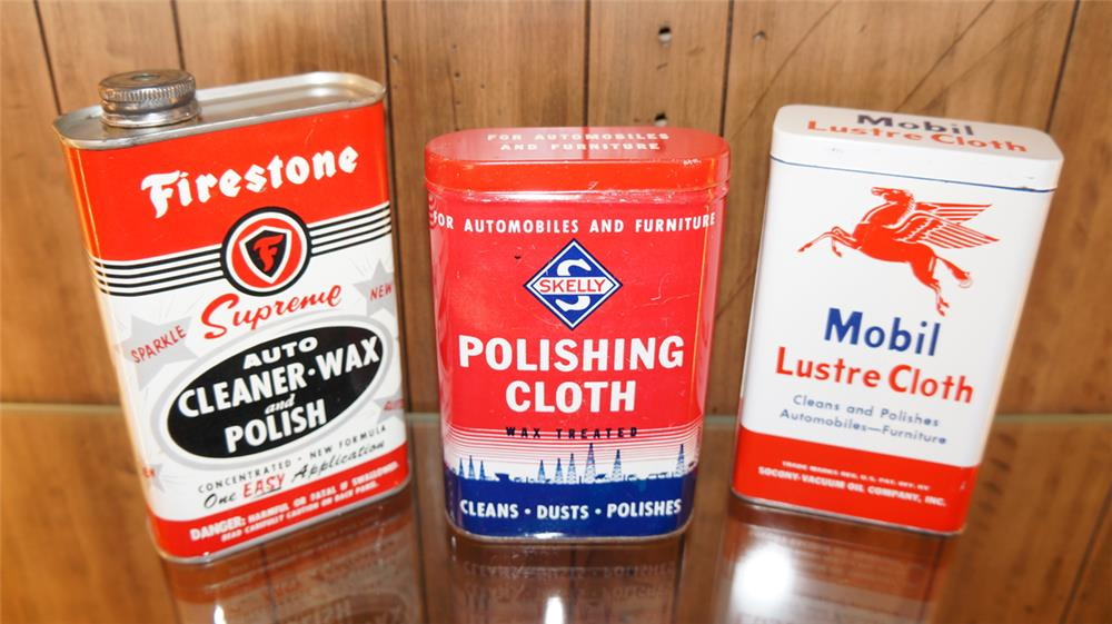 Lot of three 1950's Automotive Polishing Wax tings by Mobil, Skelly and Firestone. - Front 3/4 - 180079