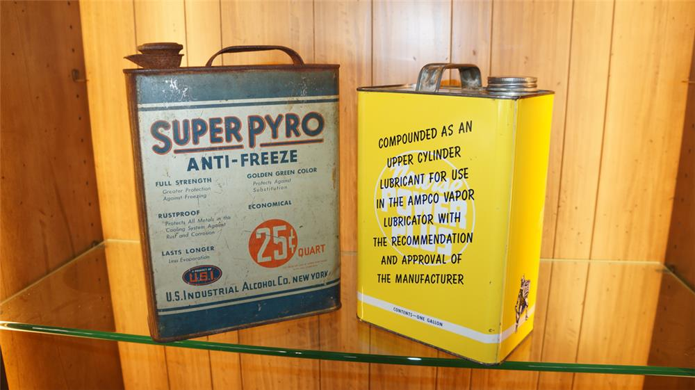 Very clean 1950's Nourse Power Plus tin and a 1930's Pyro Anti-Freeze tin. - Front 3/4 - 180097
