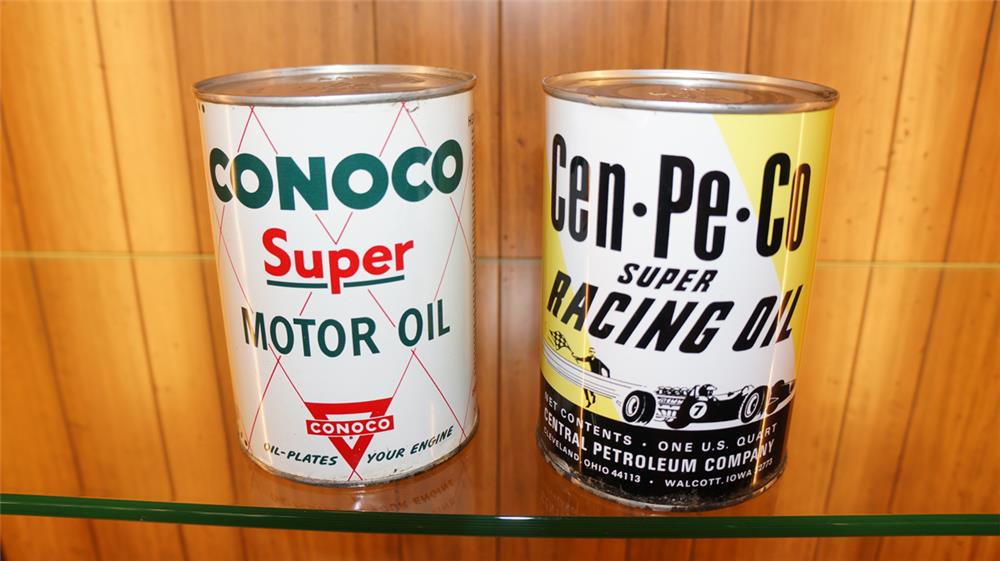 Lot of two 1950's-60's metal quart cans for Conoco and Cenpeco Racing Oil with graphics. - Front 3/4 - 180099