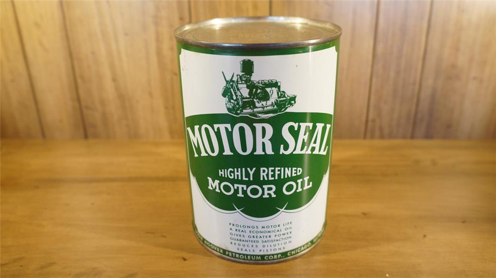 1940's Motor Seal Highly Refined Motor Oil metal quart with engine graphic. - Front 3/4 - 180101