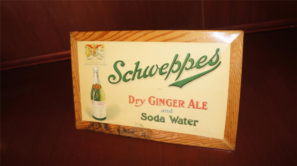 Wonderful 1930's Schweppes Dry Ginger Ale celluloid counter-top sign with easel back. - Front 3/4 - 180107