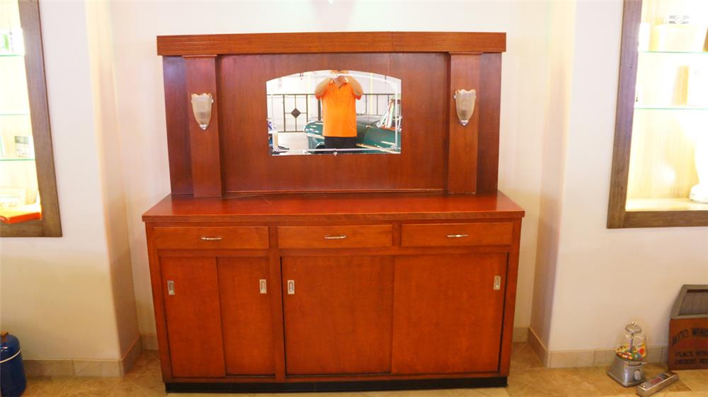 All original 1930's Soda Fountain wooden bar back with period lights and mirror. - Front 3/4 - 180113