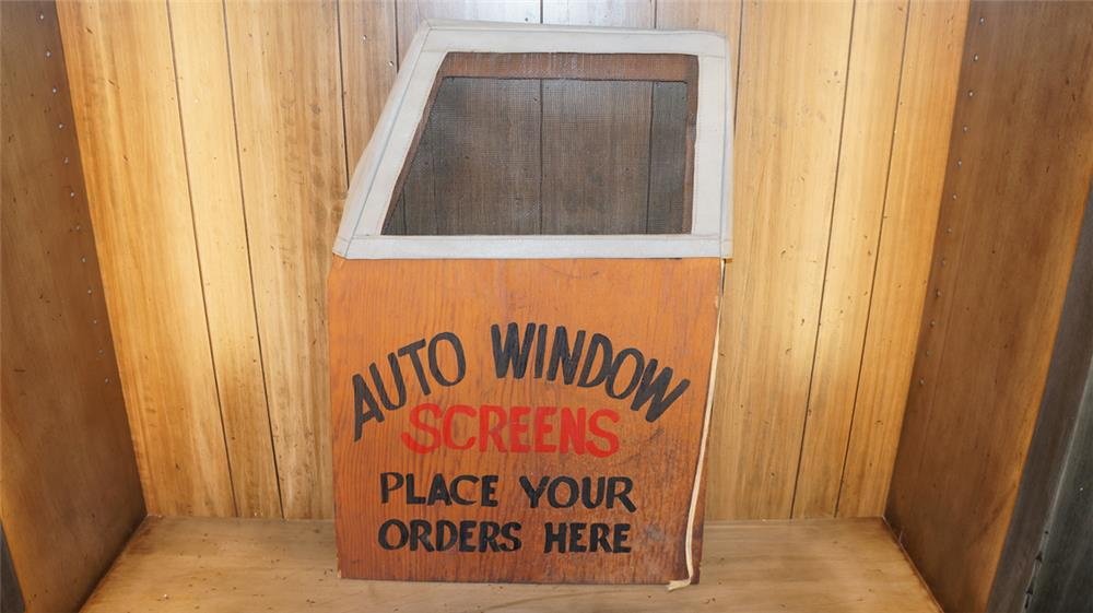 Circa 1930's-40's Auto Window Screens service station wooden display sign. - Front 3/4 - 180114