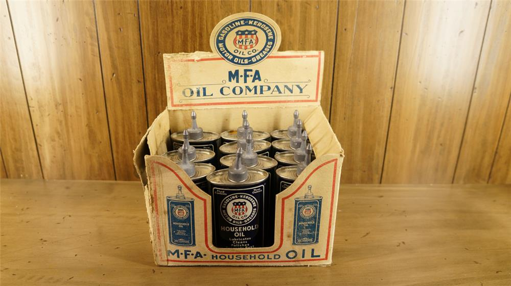 1930's MFA Oil service station counter-top display of eleven period unused Handy Oilers. - Front 3/4 - 180116