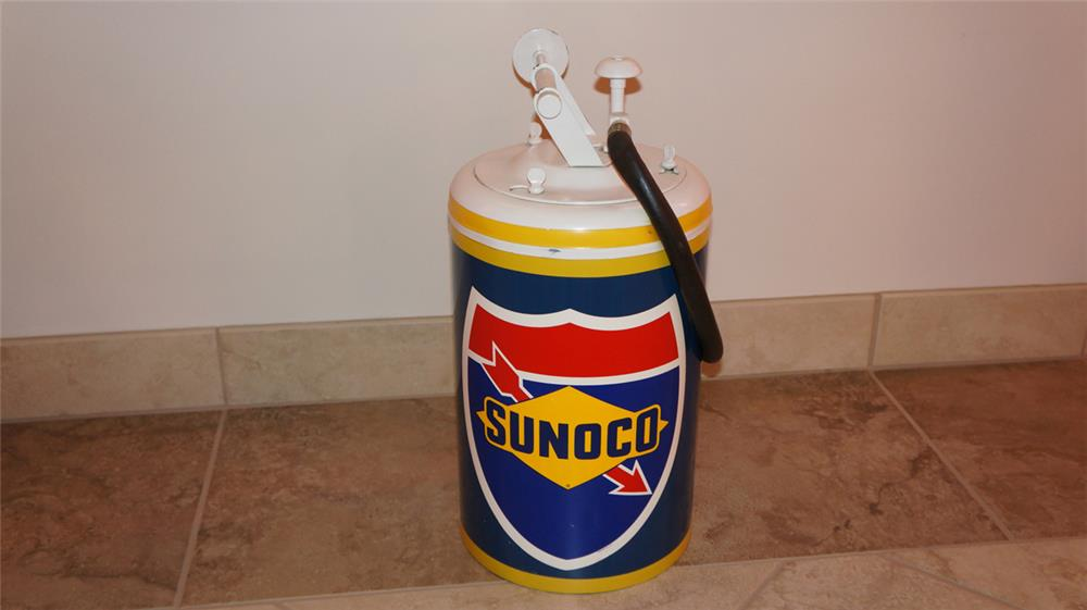 Restored 1950's Sunoco service department hand pump greaser. - Front 3/4 - 180128