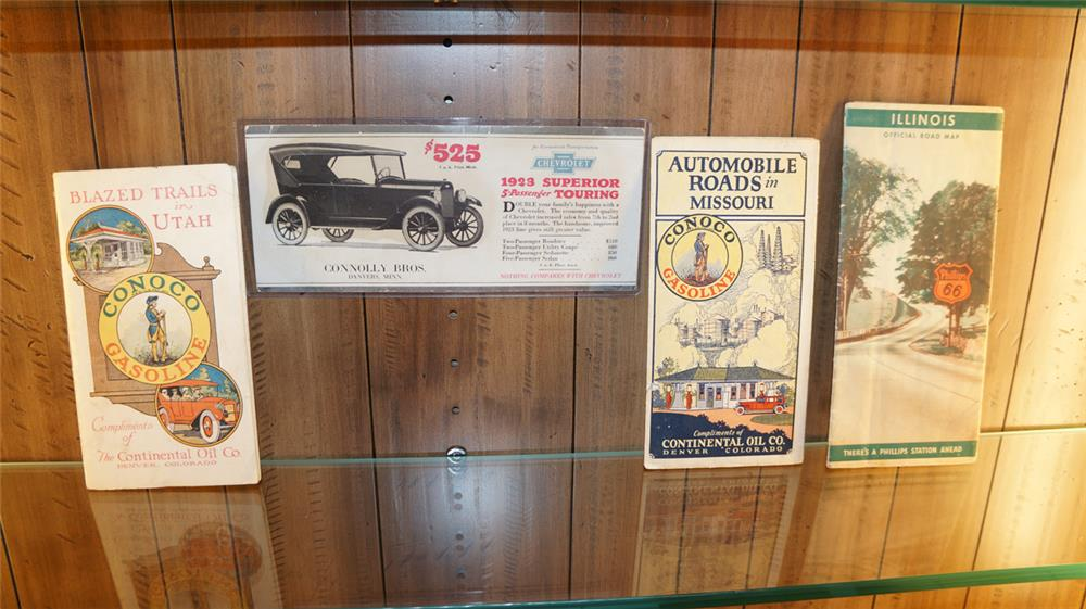 Lot consisting of a 1923 Chevrolet ink blotter, two 1920's Conoco station maps and a 1950's Phillips 66 road map. - Front 3/4 - 180131