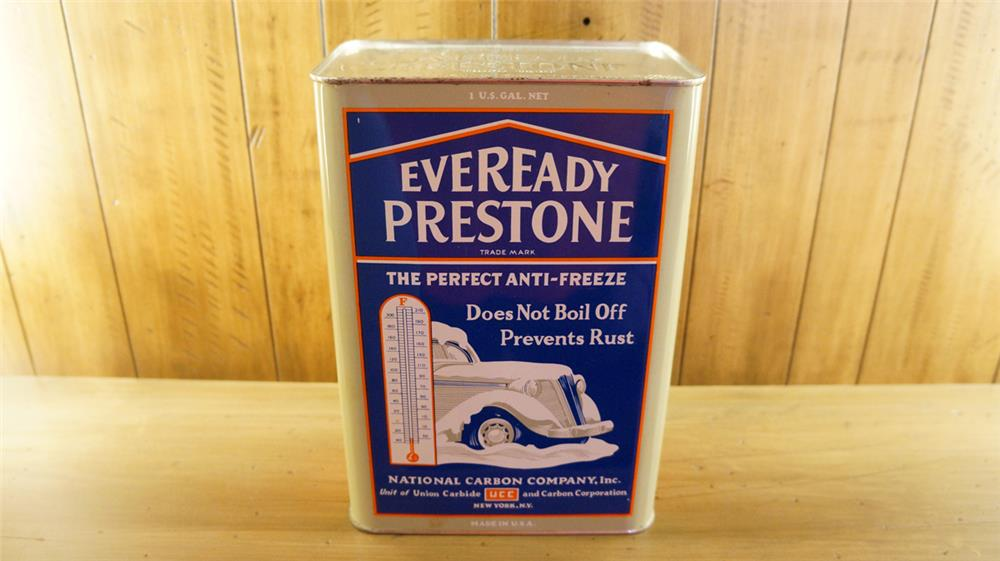 Superb 1930's Eveready Prestone Anti-Freeze one gallon tin with outstanding graphics. - Front 3/4 - 180133