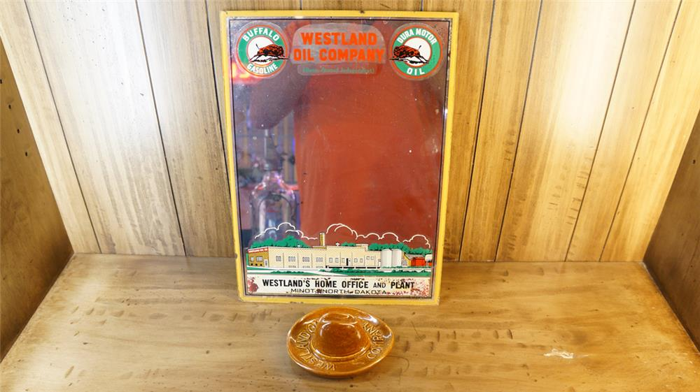 Lot consisting of a 1940's Westland Oil Service Station mirror and a 1950's Westland Oil cowboy hat shaped ashtray. - Front 3/4 - 180142