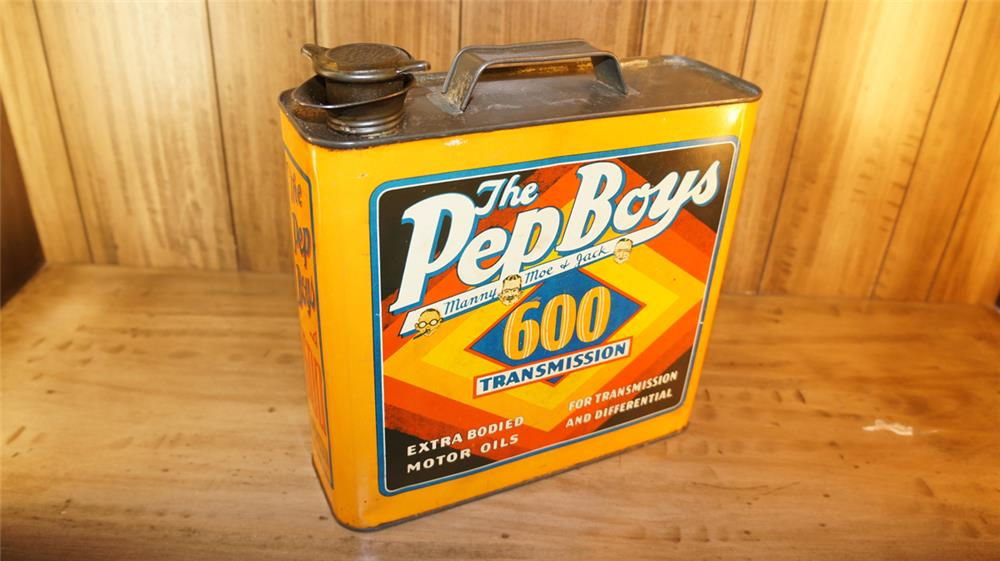 1930's Pep Boys 600 Transmission Fluid solder seamed one gallon tin - Front 3/4 - 180145