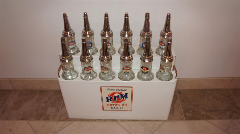 Perfectly restored 1930's RPM Motor Oil fuel island metal oil bottle rack - Front 3/4 - 180160