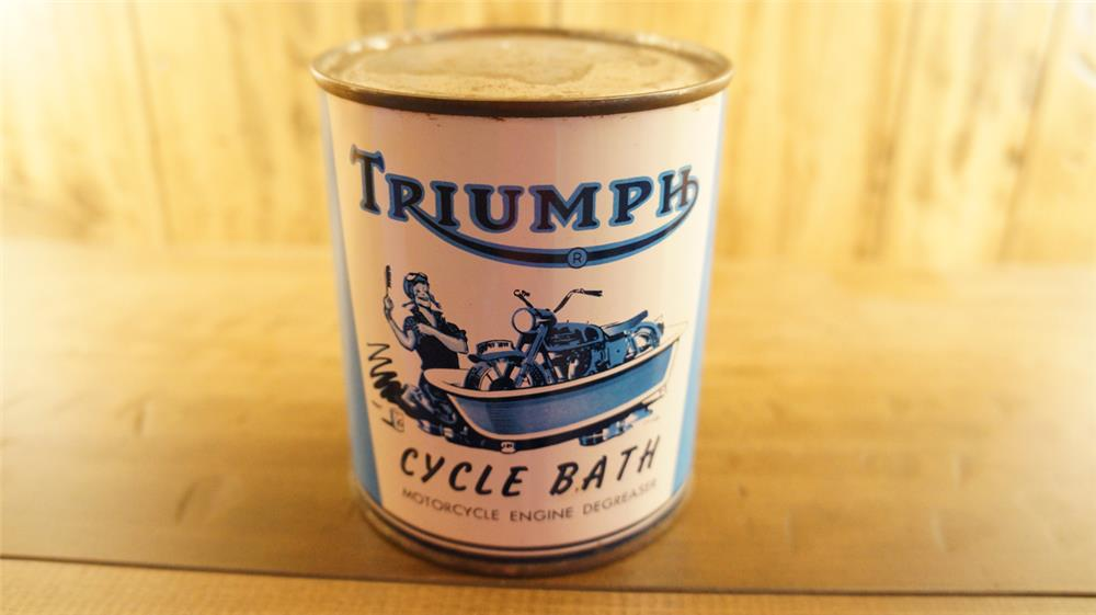 """N.O.S. late 1950's Triumph Motor Cycles """"Cycle Bath"""" tin still full with great graphics. - Front 3/4 - 180162"""