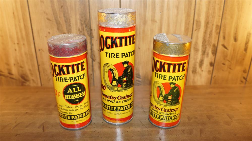 Lot of three late 1920's Locktite Tube Repair tins - Front 3/4 - 180164