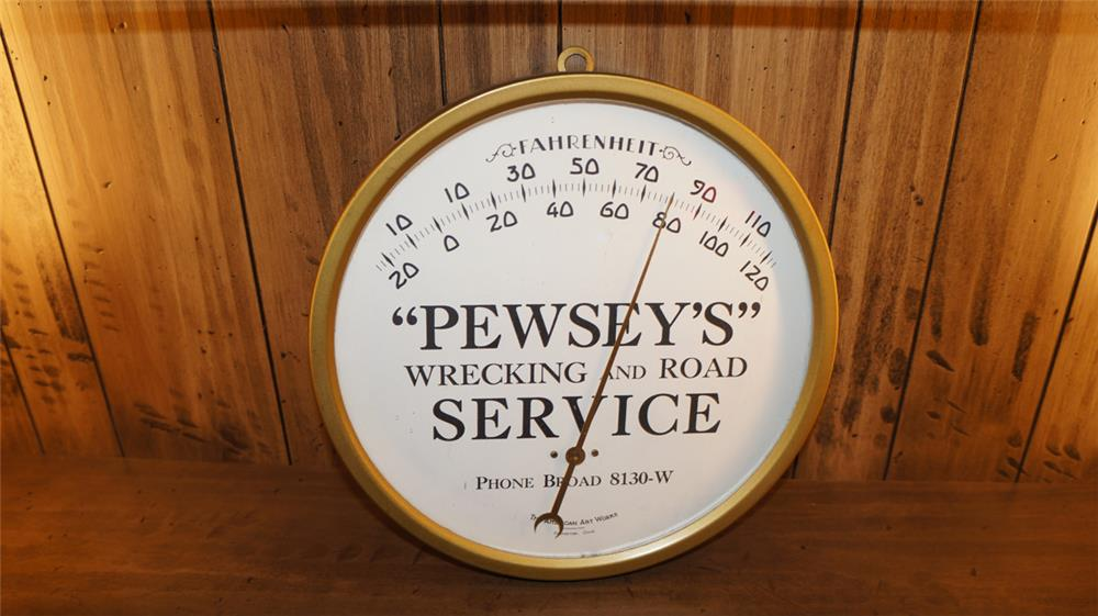 N.O.S. 1920's Pewsey's Wrecking and Road Service brass glass faced garage thermometer - Front 3/4 - 180168