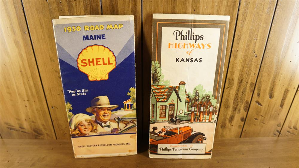 Lot consisting of a 1930 Shell Oil map and a late 1920's Phillips 66 Highway map. - Front 3/4 - 180169