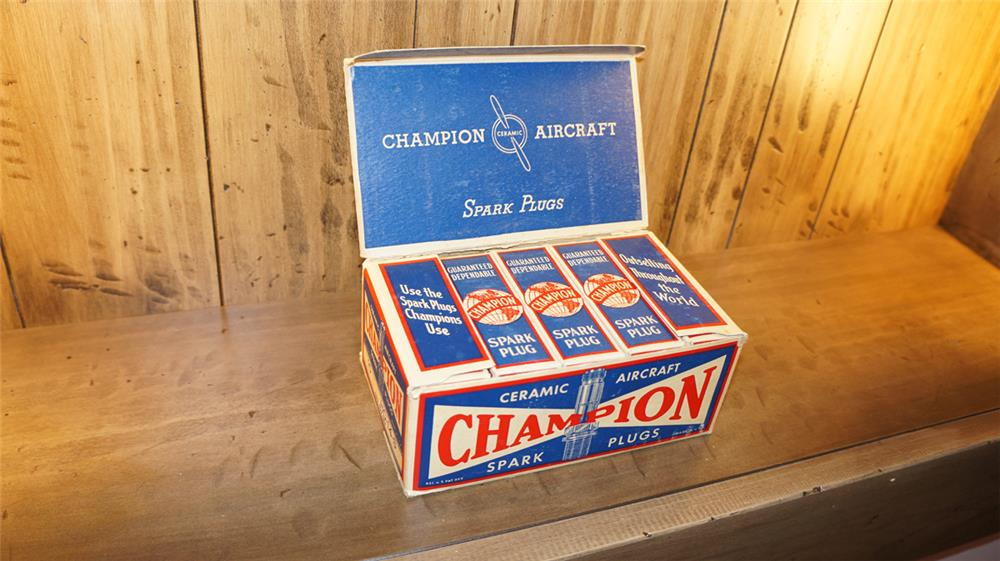 Rare 1930's Champion Aircraft Spark Plugs counter-top display box still full and unused! - Front 3/4 - 180171