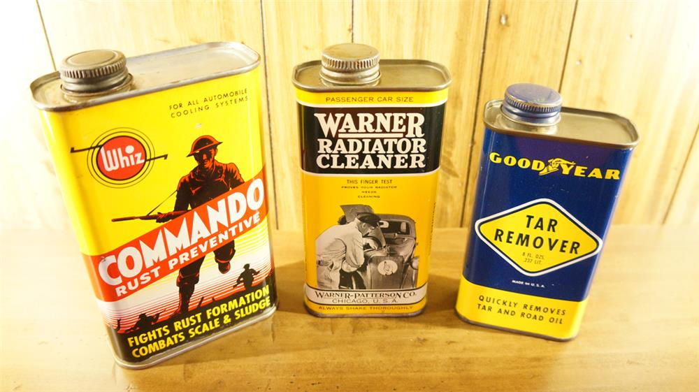 Lot consisting of 1950's Goodyear Tar Remover tin, 1930's Warner Radiator tin and a Whiz Commando Rust Preventive tin. - Front 3/4 - 180180