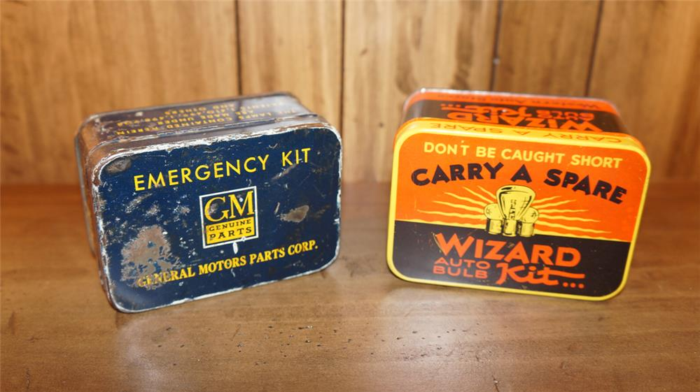 Lot of two 1930's Automotive Bulb tins for Wizard and GM. - Front 3/4 - 180181