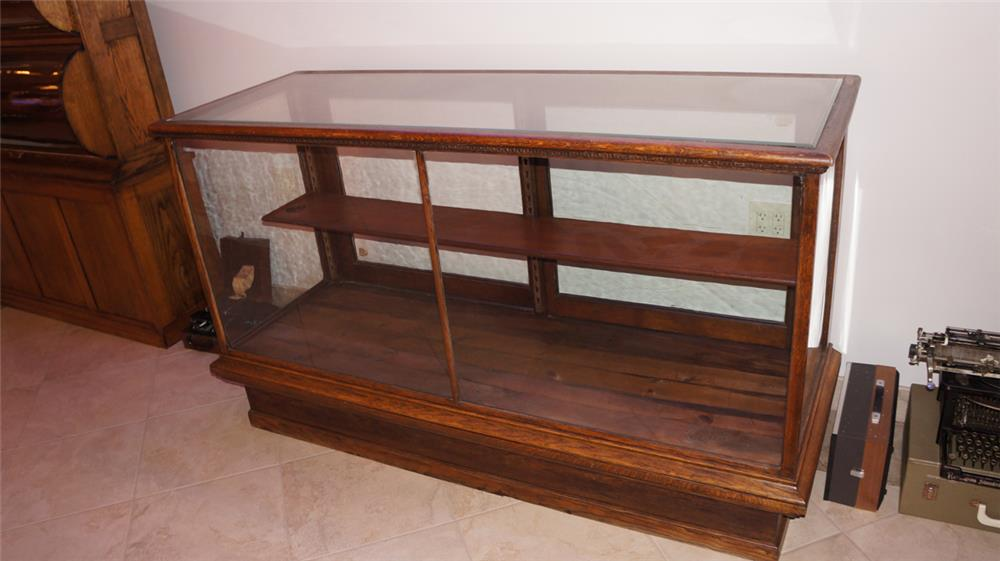 Early wooden glass show case with beveled glass. - Front 3/4 - 180208