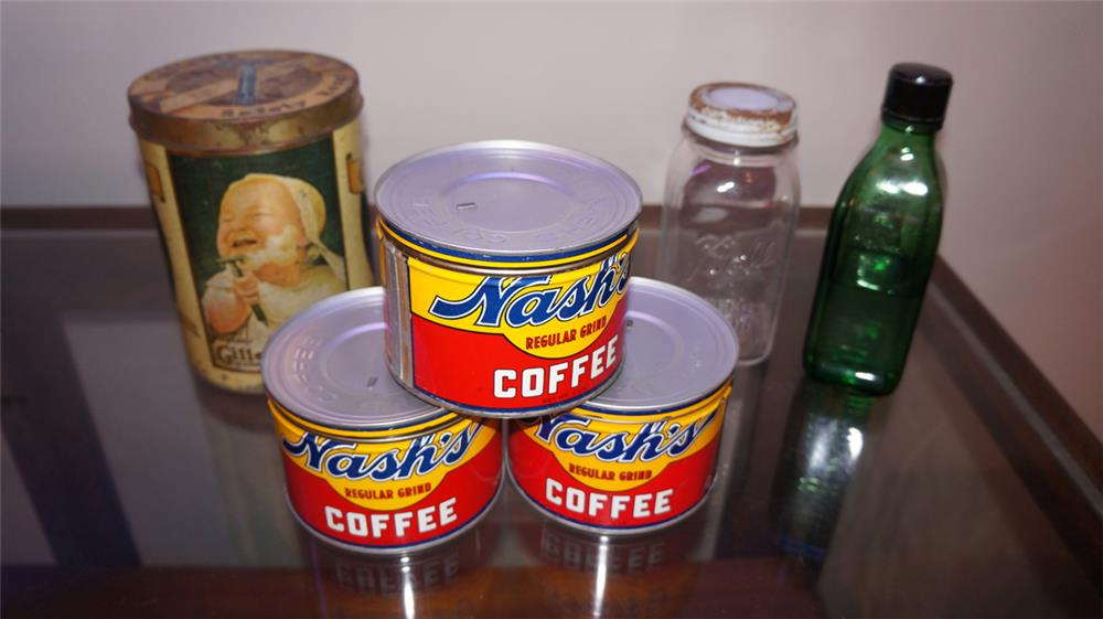 Lot of six general store tins various ages including three Nash coffee tins. - Front 3/4 - 180213