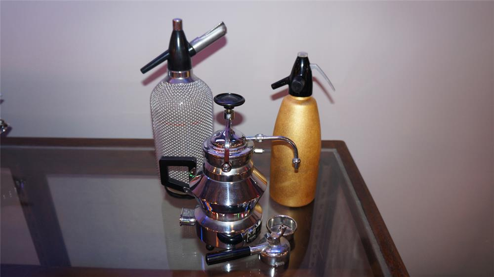 Lot consisting of two vintage seltzer bottles and a French Push Coffee pot. - Front 3/4 - 180214