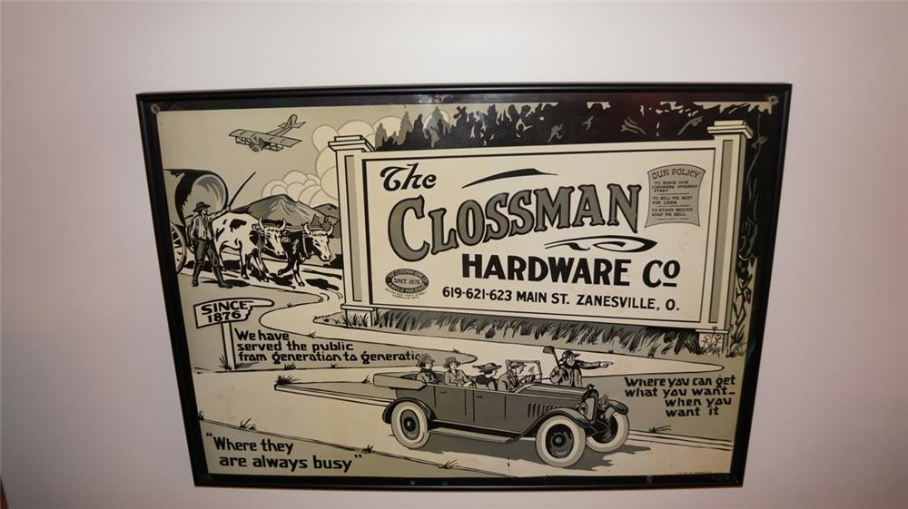 Late 1920's Clossman Hardware Company of Ohio single-sided tin embossed sign - Front 3/4 - 180219