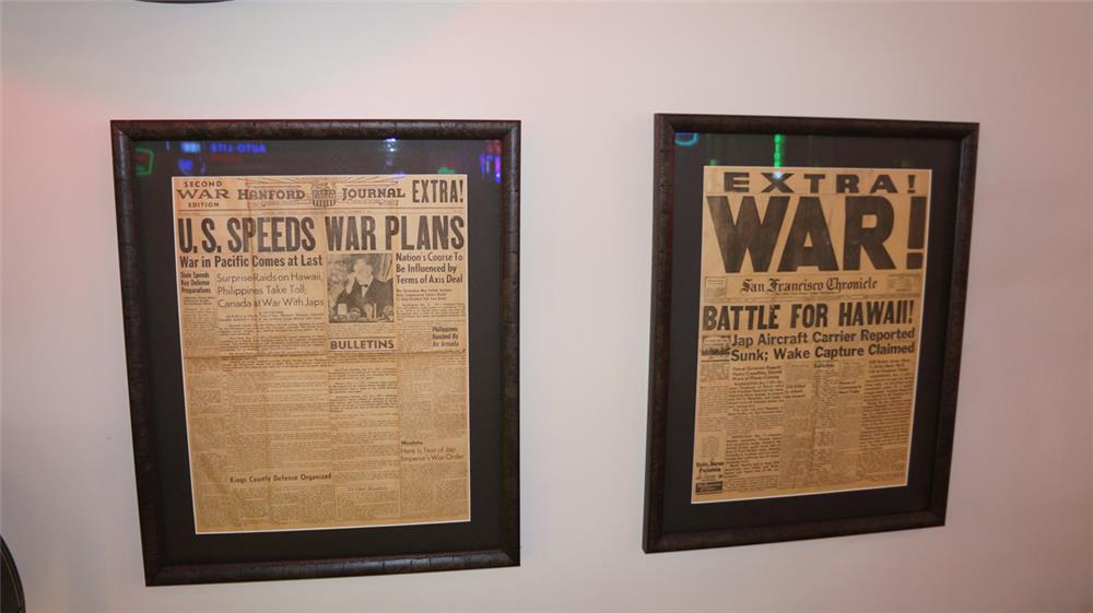 "Lot of two December 8 1941 ""War is Declared"" framed newspapers. - Front 3/4 - 180221"