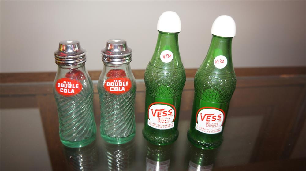 Lot of two 1950's glass soda bottle shaped salt and pepper shakers for Vess and Double-Cola. - Front 3/4 - 180226