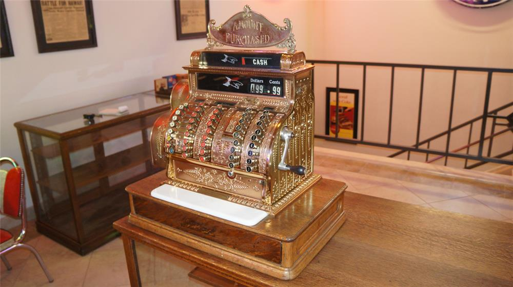 Beautiful Turn of the Century counter-top National brass cash register. - Front 3/4 - 180237