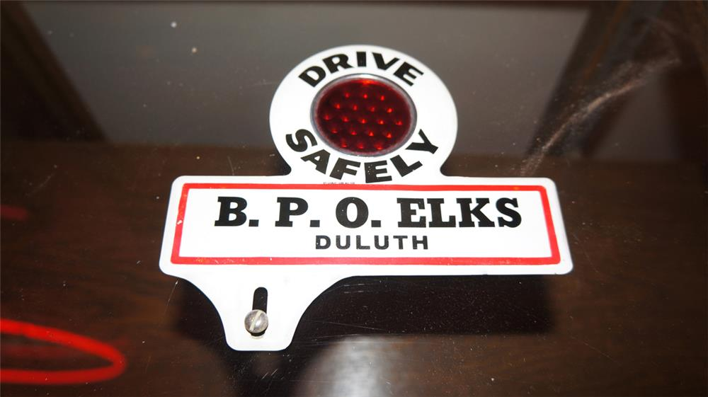 N.O.S. 1930's B.P.O.E. Elks Lodge Drive Safely license plate attachment sign. - Front 3/4 - 180252