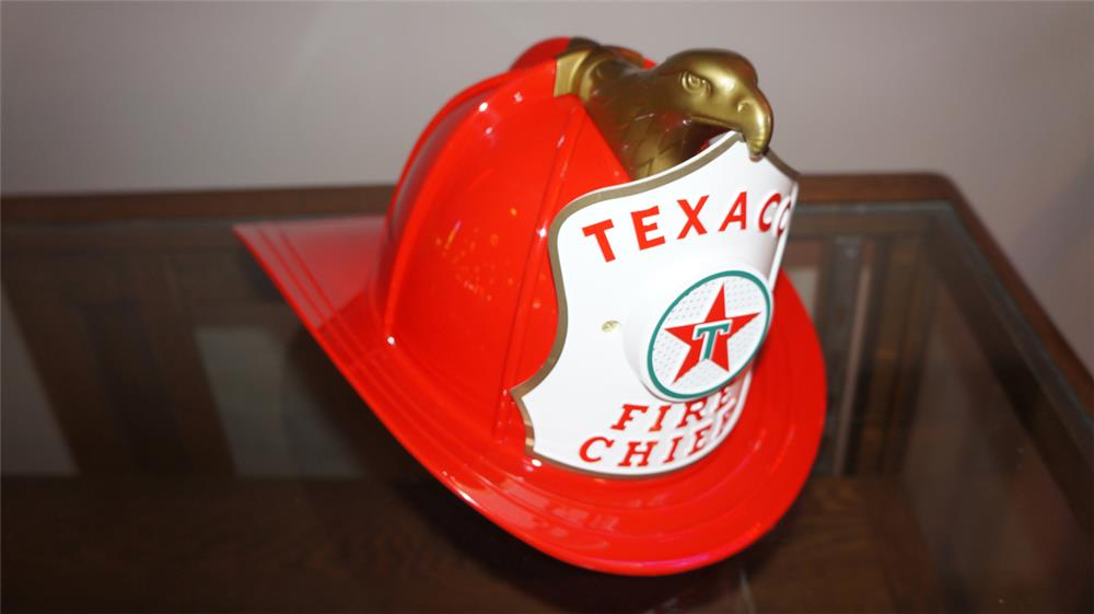 Late 1950's-early 1960's Texaco Fire Chief gasoline child's promotional helmet with speaker system. - Front 3/4 - 180254