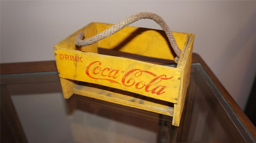 Circa 1930's-40's Coca-Cola wooden six pack carrier. - Front 3/4 - 180255