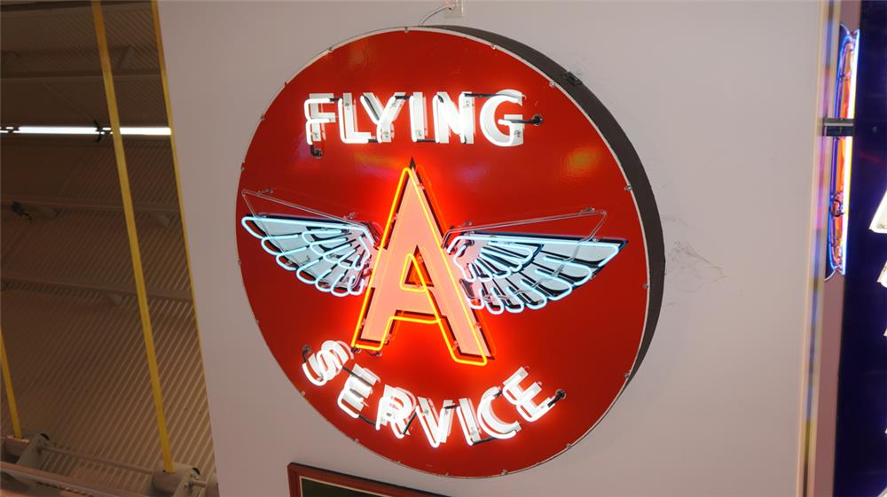 Incredible 1950's Flying A Service restored single-sided porcelain with animated neon service station sign. - Front 3/4 - 180258