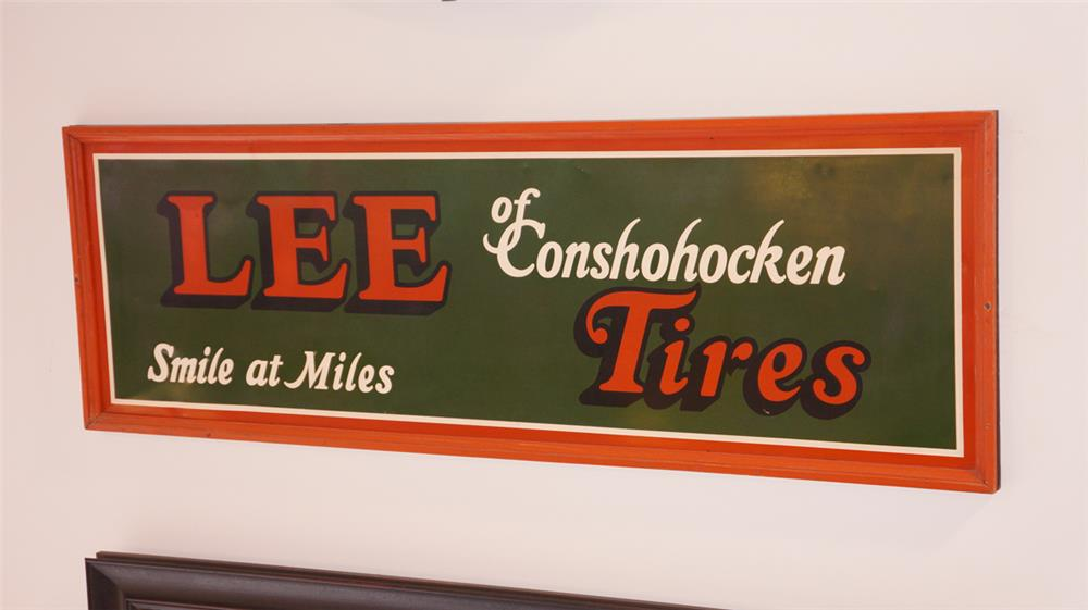 "1930's-40's N.O.S. Lee Tires of Conshohocken ""Smile at Miles"" single-sided tin wood framed garage sign. - Front 3/4 - 180259"