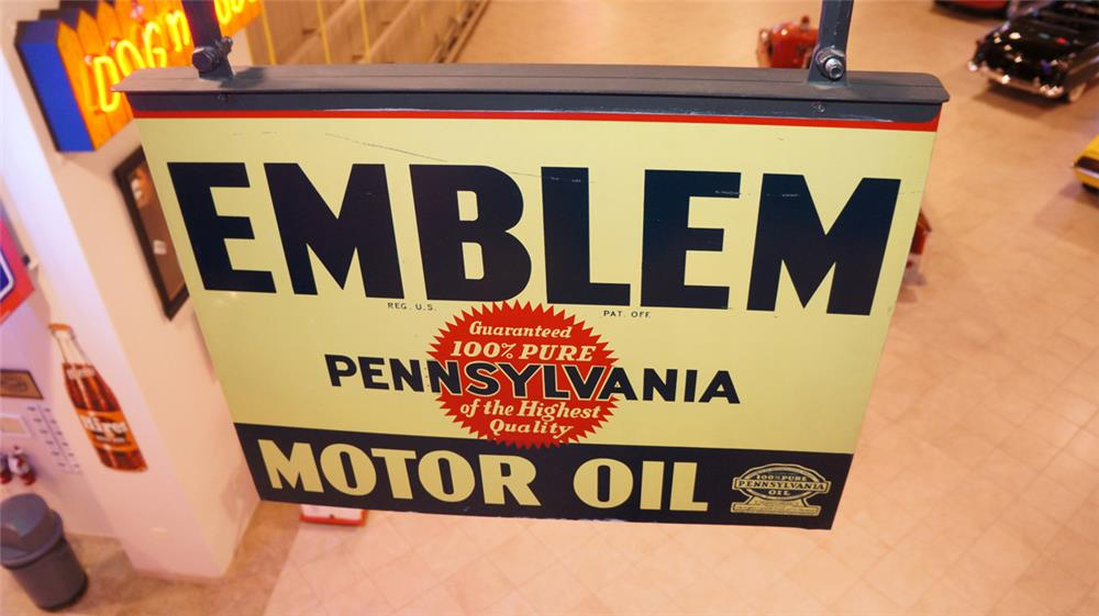 Unusual 1930's Emblem Motor Oil double-sided tin service station sign. - Front 3/4 - 180266
