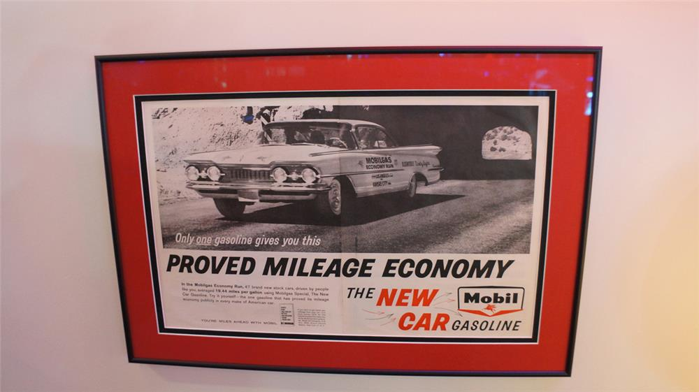 Choice vintage Mobilgas Proven Economy framed service station poster with race graphics. - Front 3/4 - 180277